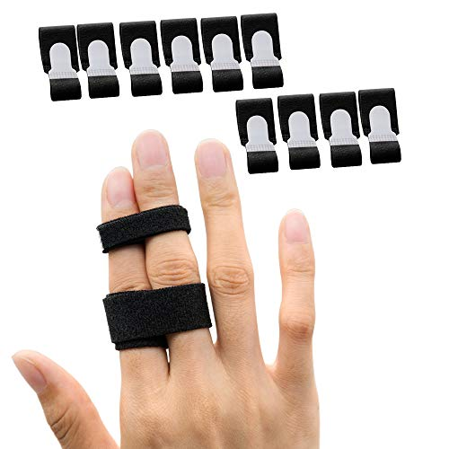 Sumifun Buddy Finger Wraps, Pack of 10 Finger Tapes for Broken, Sprained, Fractured Finger, Finger Straps for Jammed, Swollen, Dislocated Joint (Black)