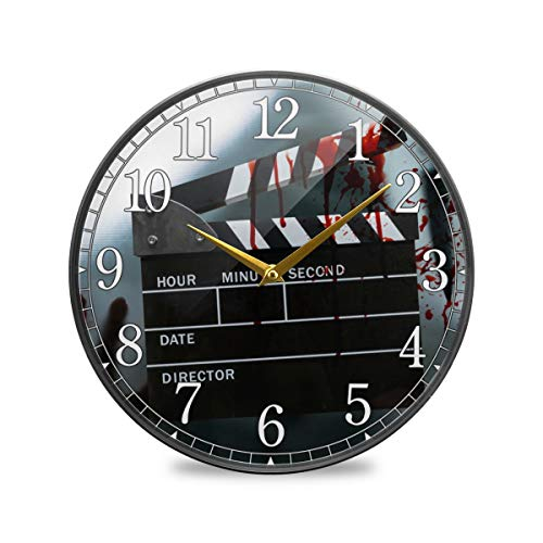 Round Wall Clock Battery Operated - 10in Non-Ticking Clock Slate Film Clapperboard Movie Decor for Home Living Room Kitchen Office School