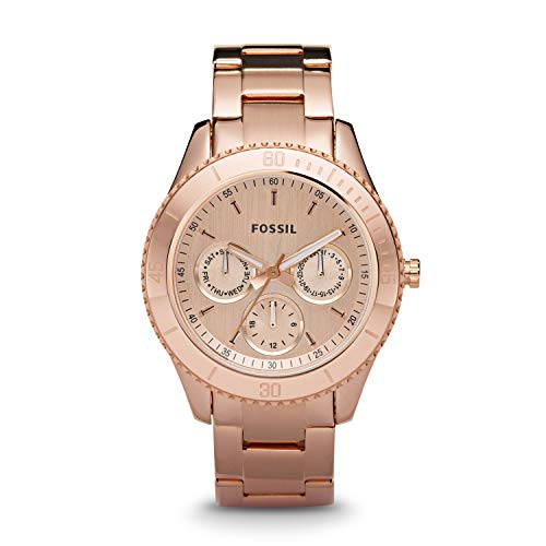 Fossil Women's Stella Quartz Stainless Steel Chronograph Watch, Color: Rose Gold (Model: ES2859)