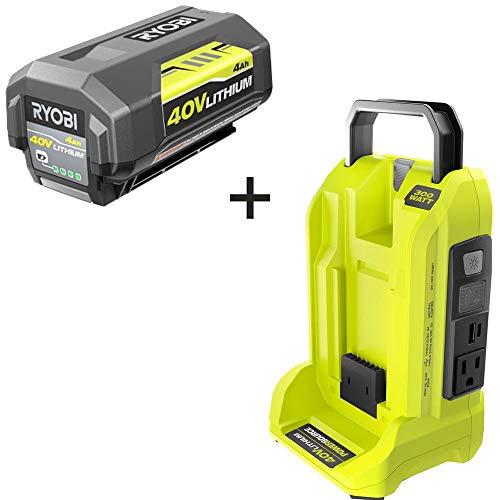RYOBI RYi300BG-B4 300-Watt Powered Inverter for 40-Volt Battery with 4.0 Ah Battery Included