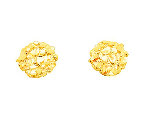 10K Yellow Gold Nugget Earrings Round Nugget 0.8 g