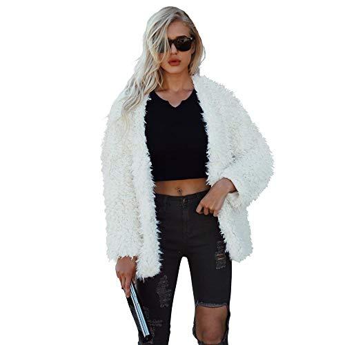Women Fluffy Fuzzy Faux Fur Coat Open Front Cardigan Jacket Coat Outwear for Wedding Party Winter (Off White,M)