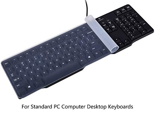 Universal Clear Waterproof Anti-Dust Silicone Keyboard Protector Cover Skin for Standard Size PC Computer Desktop Keyboards (Size: 17.52' x 5.51')