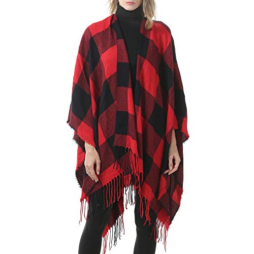 Zando Womens Tassel Plaid Shawls Printed Tartan Plaid Poncho Cape for Women Calssic Large Scarf Soft Blanket Shawls for Women Buffalo Red One Size
