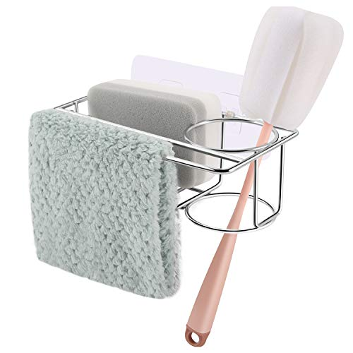 Sponge Holder for Kitchen Sink with Adhesive, 3 in 1 304 Stainless Steel Sink Caddy, Sturdy Over the Sink Rack Organizer For Sponges, Liquid Soap, Scrubber, Brush and Other Dishwashing Accessories