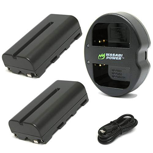 Wasabi Power Battery (2-Pack) and Dual USB Charger for Sony NP-F330, NP-F530, NP-F550, NP-F570 and CN-160, CN-216, CN126 Series (L Series) and Atomos Ninja V, Shinobi, Shogun 7