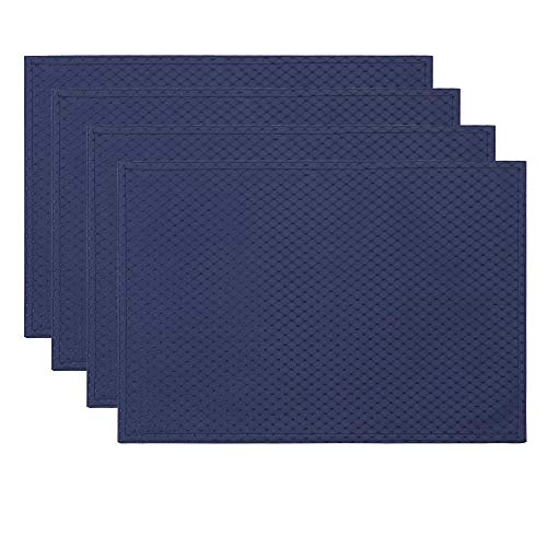ColorBird Elegant Waffle Jacquard Doily Place Mat Water Resistant Spillproof Microfiber Fabric Table Placemats, 13 x 19 Inch, Set of 4, Navy Blue