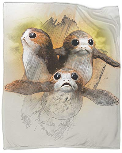 Coobal Star Wars Porgs Fleece Blanket Throw Size, Star Wars Plush Blanket Light Weight 60 x 50 inch
