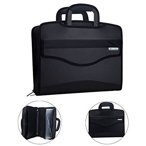 Business Document Bag Messenger Work BriefcaseWaterproof Fabric Expanding File FolderTote Travel Portfolio Document HolderLaptop Handbag Expanding Briefcase File Bag Case for Meeting Office & Home