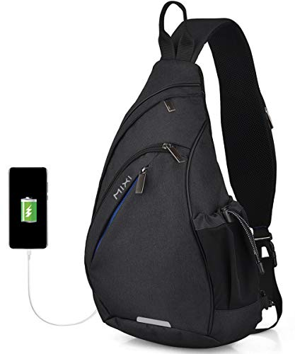 Hanke Sling Bag Men Backpack Unisex One Shoulder Bag Hiking Travel Backpack Crossbody with USB Port for Men Women Versatile Casual Daypack-19 inch,Black
