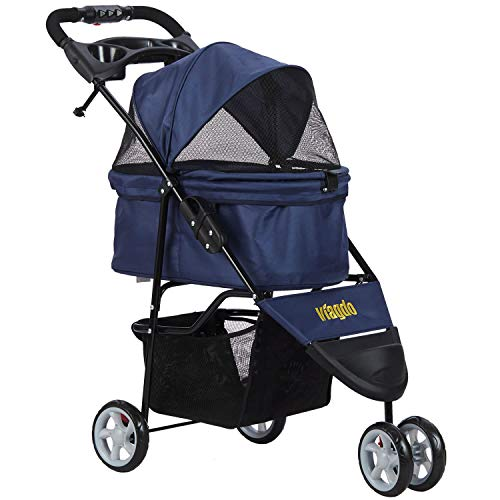 VIAGDO Pet Strollers for Small Medium Dogs & Cats, 3-Wheel Cat Stroller, Foldable Dog Stroller with Removable Liner and Storage Basket for Dog & Cat Traveling Strolling Cart (Dark Blue)