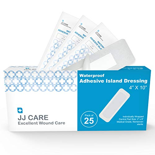 """JJ CARE [Pack of 25] Waterproof Adhesive Island Dressing 4"""" x 10"""", Sterile Wound Dressing, Breathable Bordered Gauze Pads, Latex Free Bandages, Individually Wrapped, Central Pad Size 2'x8'"""