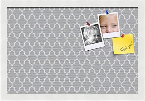 PinPix ArtToFrames 18x12 Custom Cork Bulletin Board. This Quatrefoil Grey Pin Board Has a Fabric Style Canvas Finish, Framed in Satin White (PinPix-284-18x12_FRBW26074)