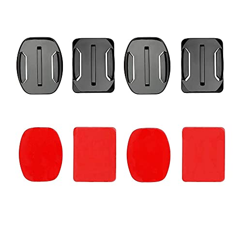 VVHOOY Adhesive Mounts Compatible with Gopro Cameras,AKASO,APEMAN,Dragon Touch,2xCurved and 2xFlat Mounts with Sticky Mount,Fits for Helmet,Surfboard,Kayak