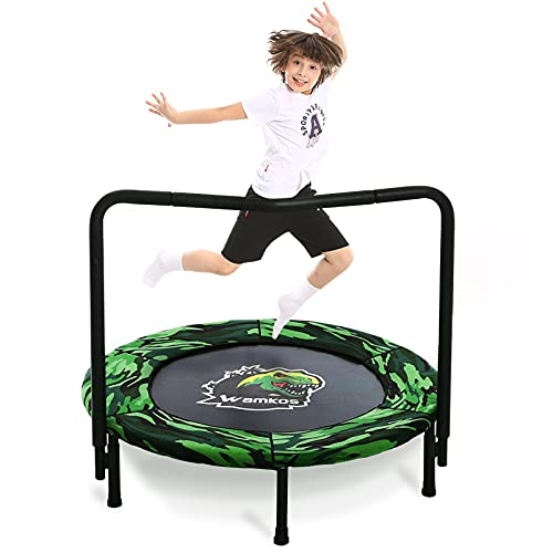 2021 Upgraded Dinosaur Mini Trampoline for Kids with Handle, Foldable Kids Trampoline for Play & Exercise Indoor or Outdoor, Camo Safty Padded Cover Toddler Rebounder Trampoline for Jump Sports