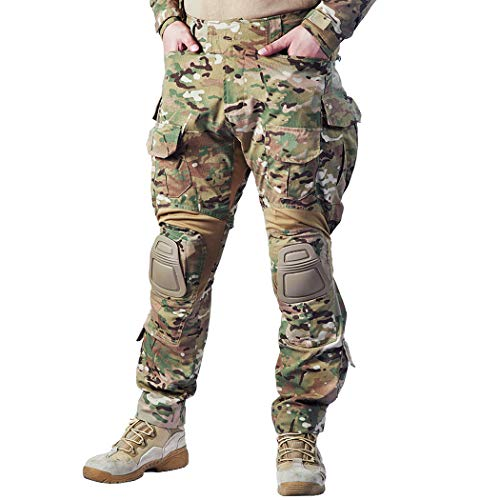 IDOGEAR G3 Combat Pants Multicam Men Pants with Knee Pads Airsoft Hunting Military Paintball Tactical Camo Trousers (Multicam, 36W/33L)