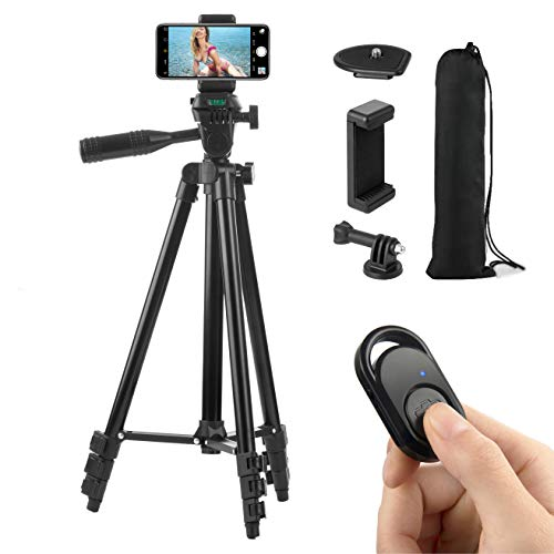 Polarduck Camera Mount Phone Tripod Stand: 51-Inch 130cm Lightweight Travel Tripod for iPhone with Remote & Phone Holder & GoPro Adapter Compatible with iPhone & Android Cell Phone | Matte Black