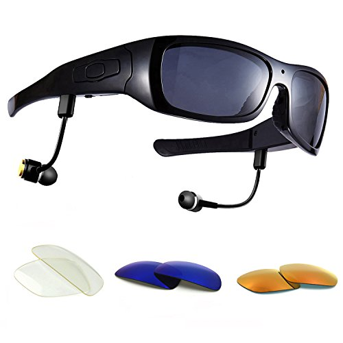 Forestfish Camera Glasses with Headset 32GB HD 1080P Video Recorder for iOS Android Smartphone Polarized Sunglasses, Black+3 Color Lenses