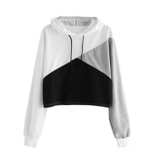 VEKDONE Women Tie Dye Hoodie Crop Tops Casual Drawstring Sweatshirt Fashion Pullover Tops(White 1,Medium)