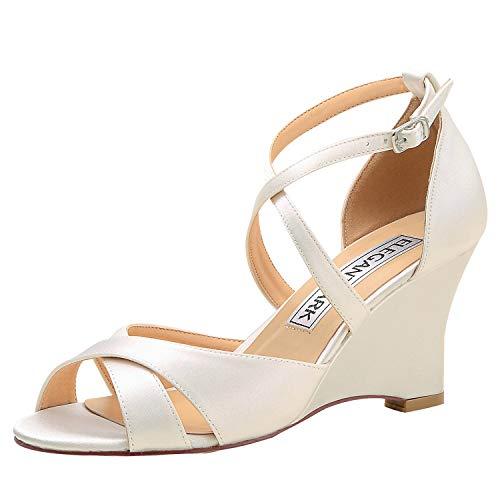 ElegantPark WP1908 Wedding Shoes for Bride High Heel Wedge Sandals for Women Peep Toe Bridal Wedding Sandals Cross Strap Satin Evening Party Dress Sandals Ivory US 10