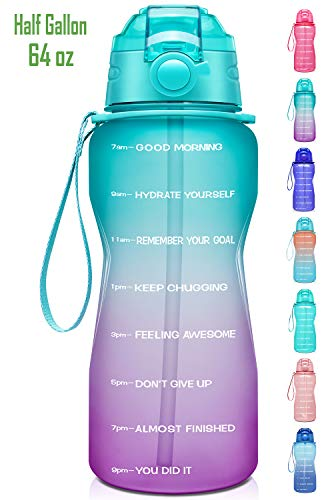 Giotto Large Half Gallon/64oz Motivational Water Bottle with Time Marker & Straw,Leakproof Tritan BPA Free Water Jug,Ensure You Drink Enough Water Daily for Fitness,Gym and Outdoor-Green/Purple