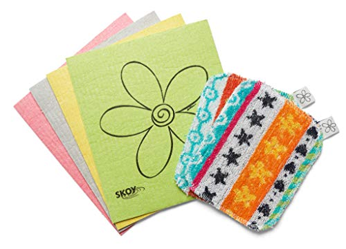 Skoy Cloth – 1 Pack (4 Pieces) and Skoy Scrub - 1 Pack (2 Pieces), Reusable Cloth and Scrub for Kitchen & Household Use, Environmentally-Friendly, Dishwasher Safe, Bundle Pack, Plastic-Free Packaging