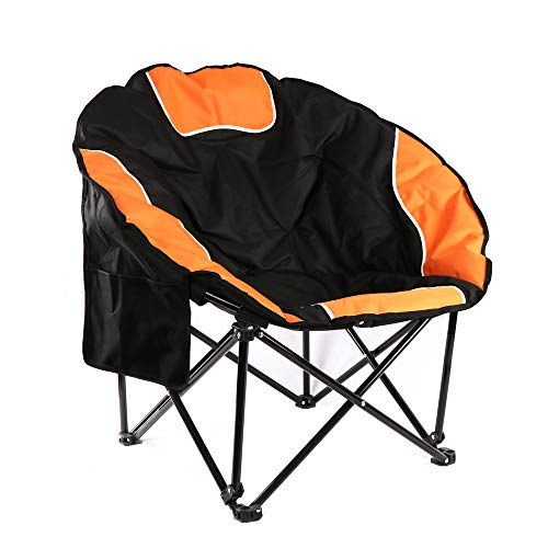 BIGTREE Portable Outdoor Moon Chair with Cup Holder and Carry Bag Round Saucer Folding Padded Patio Chair Orange