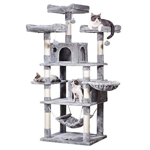 MQ Multi-Level Cat Tree, Activity Center Cat Tower Furniture 67' with Sisal-Covered Scratching Posts 3Pcs Padded Plush Perches Dual Condo & Basket Removable Hammock for Adult Large Small Cats (Gray)