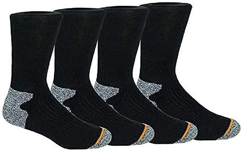 Weatherproof Men's 4 Pack Terry Crew Socks, Black, 10-13