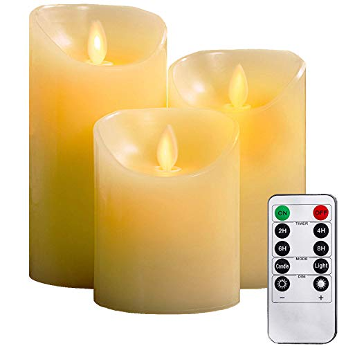 YIWER Flameless Candles, 4' 5' 6' Set of 3 Real Wax Not Plastic Pillars, Include Realistic Dancing LED Flames and 10-Key Remote Control with 2/4/6/8-hours Timer Function, 300+ Hours (3, Ivory)