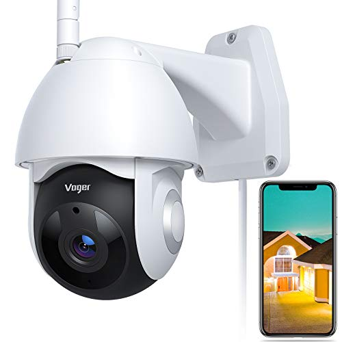 Security Camera Outdoor, Voger 360° View WiFi Home Security Camera System 1080P with IP66 Weatherproof Motion Detection Night Vision 2-Way Audio Cloud Camera Works with Alexa and Google Home