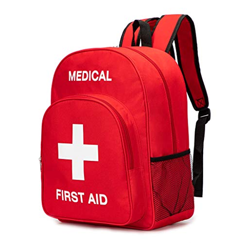 PAXLamb Red First Aid Bag Empty First Aid Backpack Empty Medical Storage Bag for First Aid Kits Pack Emergency Hiking Backpacking Camping Cycling Travel Car (15.7*11.8*5.9')