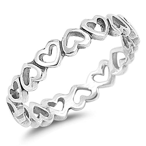 Oxford Diamond Co Plain Heart Band .925 Sterling Silver Ring Size 5