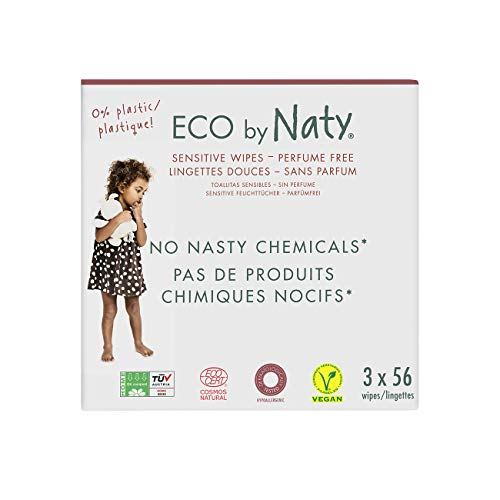 Eco by Naty Unscented Baby Wipes, 168 count (3 packs 56), Plant based Compostable Wipes, 0% plastic. No nasty chemicals