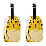 Kawaii Luggage tag waterproof Cute Chubby Leopard Cartoon (2 PCS) Fashion match Quickly find the suitcase