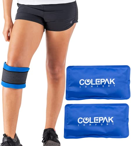 ColePak Comfort Reusable Hot and Cold Gel Ice Packs for Injuries (2 Pack) w/Gel Therapy Wrap - Perfect to Wrap Knee, Back, Foot or Ankle