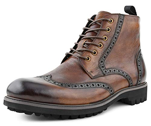 Asher Green AG1822 - Mens Dress Boots, Wingtip Boots for Men - Genuine Leather Lace Up Boots - Fashion Boots, Dress Boots for Men - Brown, Size 7.5