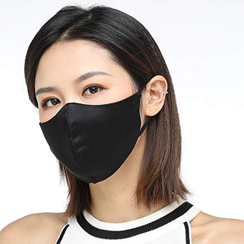 Masks,Gauze mask,Face Cover,Adjustable Reusable 100% Natural Silk Face Mask for Adults Women Men (Black)