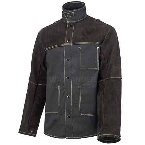 Waylander Welding Jacket Medium Split Leather Heat Fire Resistant Cotton Kevlar Stitched Cowhide Dark Brown - M