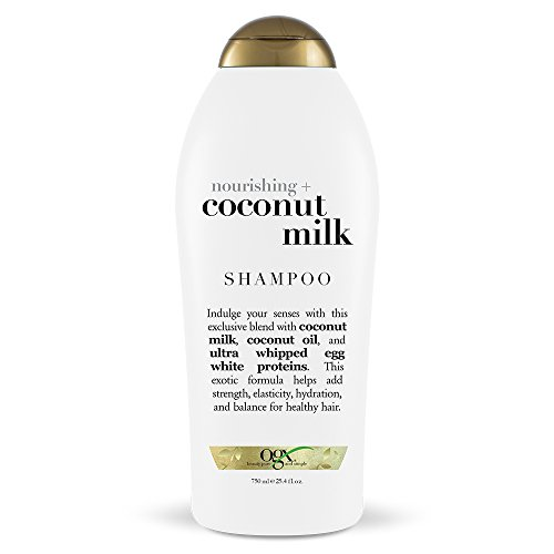 OGX Nourishing + Coconut Milk Moisturizing Shampoo for Strong & Healthy Hair, with Coconut Milk, Coconut Oil & Egg White Protein, Paraben-Free, Sulfate-Free Surfactants, 25.4 fl oz