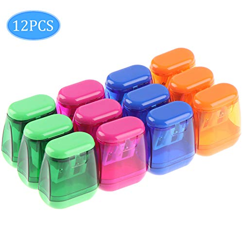 Xgood 12 Pieces Pencil Sharpener Manual Pencil Sharpener Dual Holes Sharpener with Lids Colorful Compact Pencil Sharpener Hand Sharpeners for Home School Office Uses,4 Colors