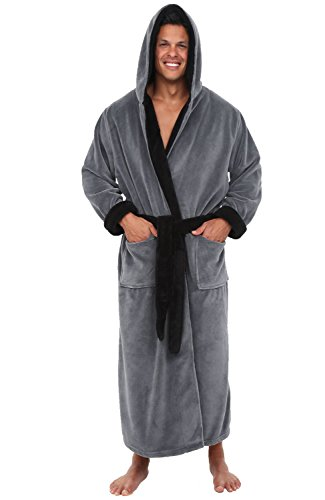 Alexander Del Rossa Men's Warm Fleece Robe with Hood, Big and Tall Bathrobe, 3X-4X Steel Gray with Black Contrast (A0125STB4X)