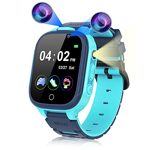 Smart Watch for Kids Boys Girls, Kids Smart Watch with Dual Camera 14 Games Pedometer, Touchscreen Game WatcheswithMP3 Music Player Video Recorder, Birthday Gift for Children Age 3-12 (Blue)