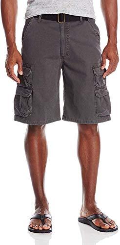 Wrangler Authentics Men's Premium Twill Cargo Short, Anthracite Twill, 34
