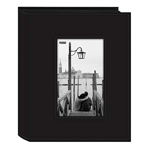 Pioneer Sewn Leatherette Frame Photo Album, Black