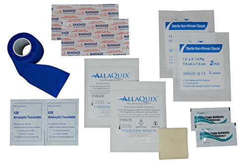 Stop Bleeding Quick Kit - First-aid with AllaQuix Stop Bleeding Gauze (Blood clotting Bandage) (Deluxe)