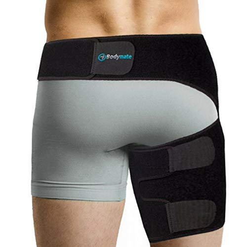 Bodymate Compression Brace for Hip, Sciatica Nerve Pain Relief Thigh Hamstring, Quadriceps, Joints, Arthritis, Groin Wrap for Pulled Muscles, Hip Strap, Sciatica brace / SI belt for Men, Women