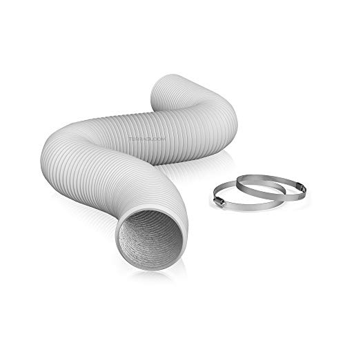 TerraBloom 8' Air Duct - 8 FT Long, White Flexible Ducting with 2 Clamps, 4 Layer HVAC Ventilation Air Hose - Great for Grow Tents, Dryer Rooms, House Vent Register Lines