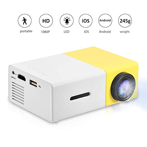 Fosa Mini Projector Portable 1080P LED Projector Home Cinema Theater Indoor/Outdoor Movie projectors Support Laptop PC,HDMI Input,Need Data Cable Connection