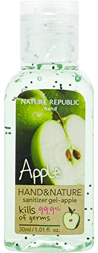Nature Republic Scented Hand&Nature Sanitizer Gel - Portable & Convenient, Waterless Hand Sanitizer, Natural Scent, Moisturizing and Hypoallergenic, For All Skin Types (Bottle 30ml Apple)